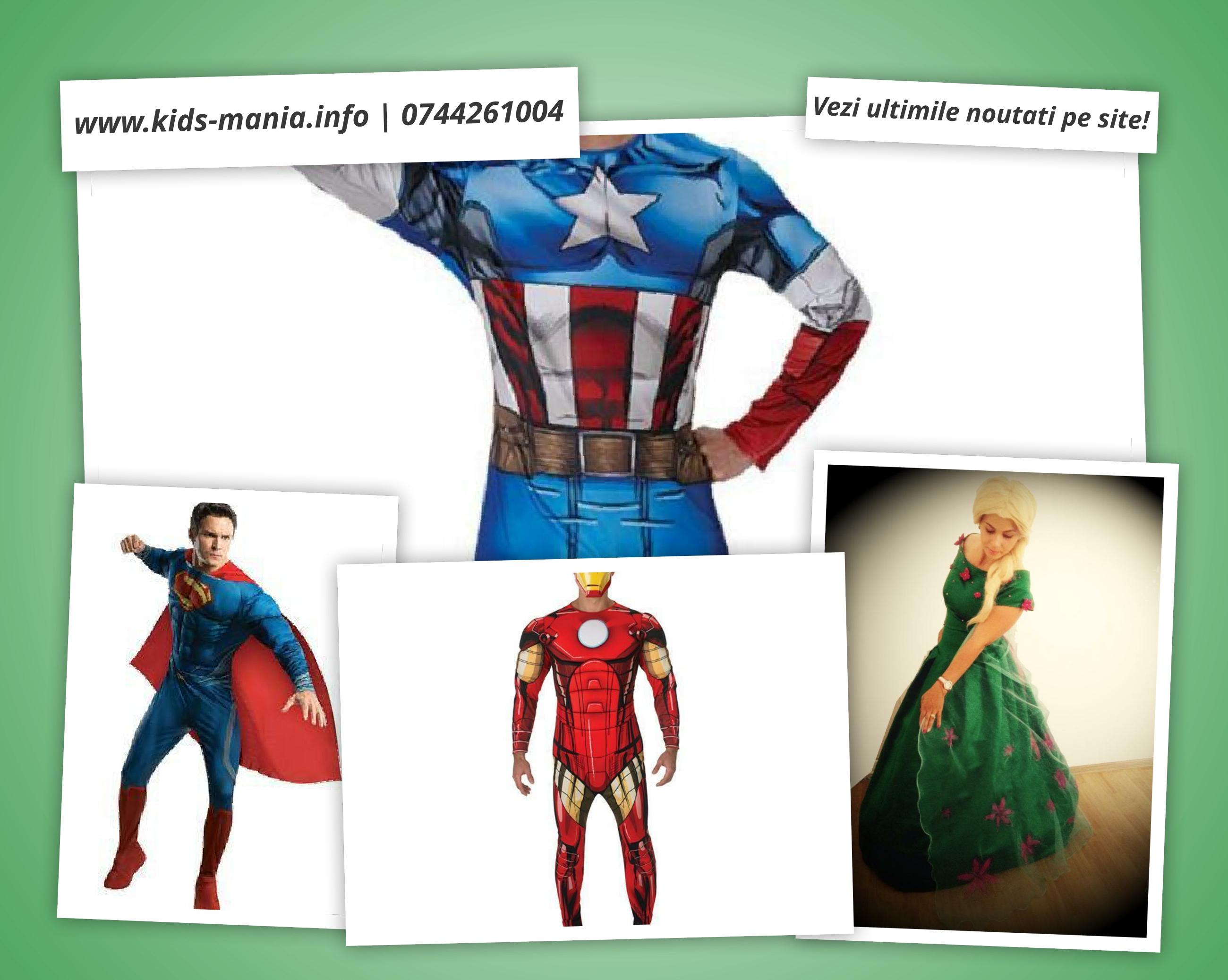 kids mania iasi noile costumatii ironman, superman, capitan america si Elsa fever