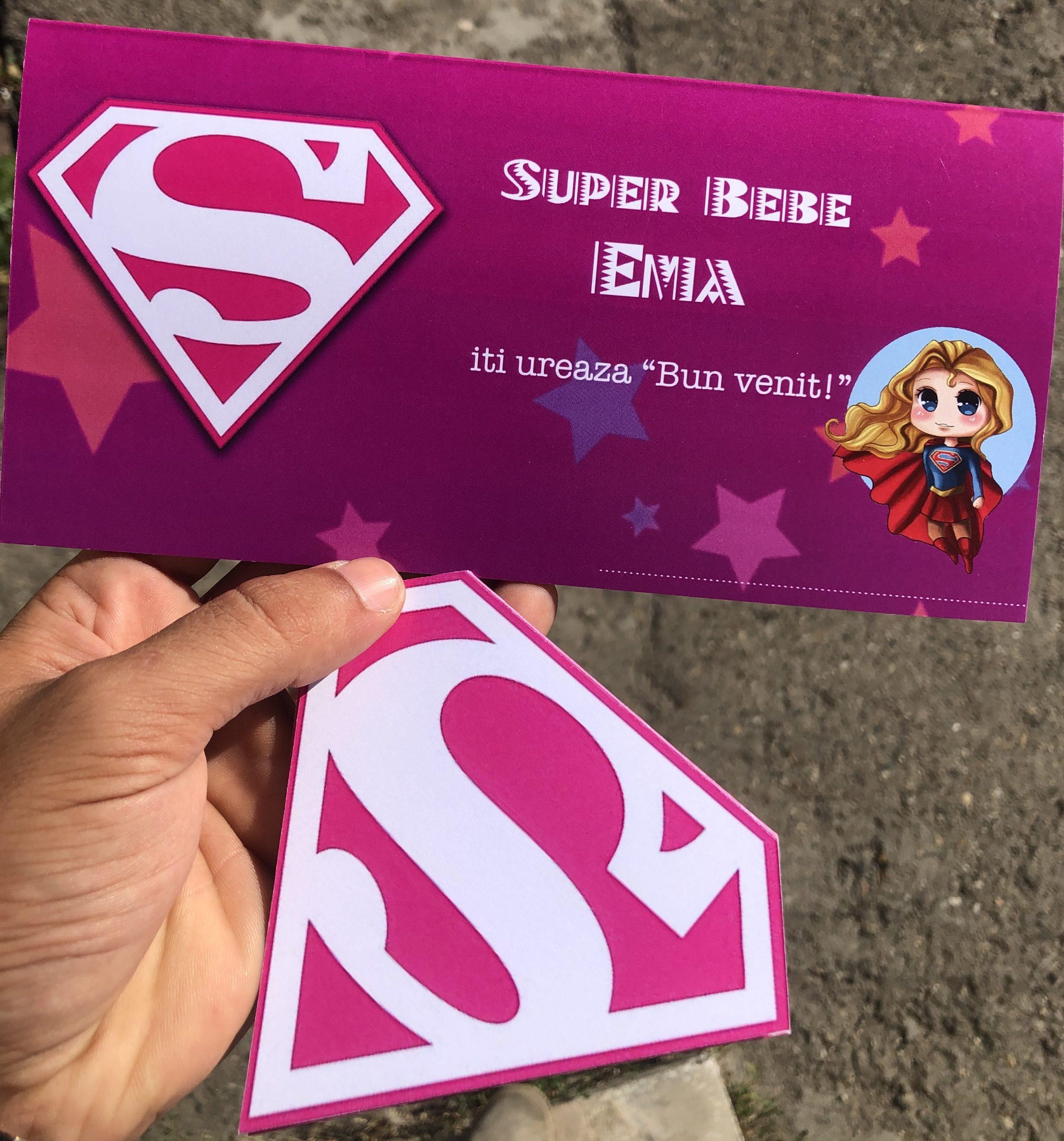 Invitatie si plic de bani cu Super Girl